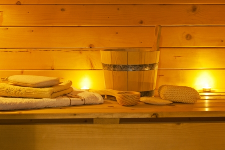 sauna: interior of sauna and sauna accessories
