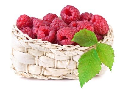 fresh raspberry in basket isolated on white background Stock Photo - 17544054