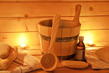 interior of finnish sauna and sauna accessories Stock Photo