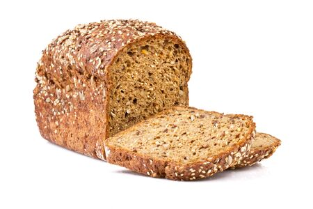 whole grain bread isolated on white background Standard-Bild