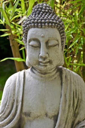 Buddha sculpture with bamboo leaves in background photo