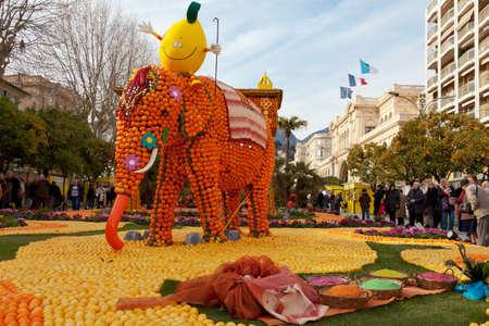 MENTON, FRANCE - FEBRUARY 27  Lemon Festival  Fete du Citron  on the French Riviera