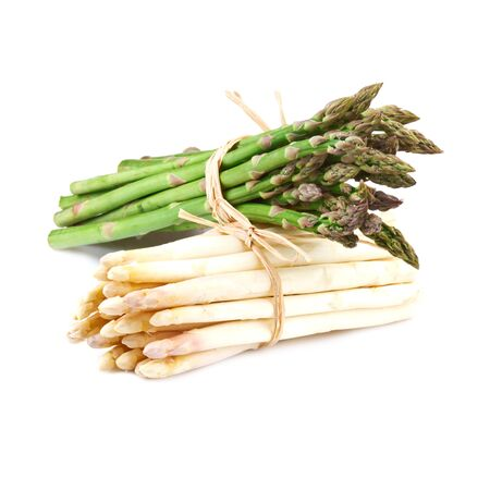 bundle of white  and green asparagus