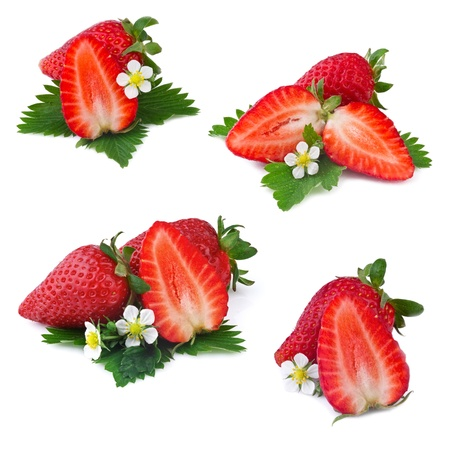 collection of strawberry isolated on white background photo