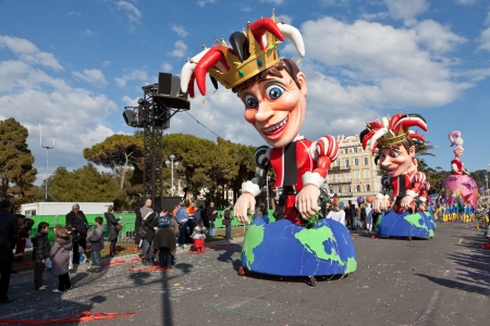NICE, FRANCE - FEBRUARY 26: Carnival of Nice in French Riviera. This is the main winter event of the Riviera. The theme for 2013 was King of the five continents. Nice, France - Feb 26, 2013 Editorial