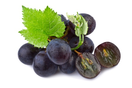 Dark grape in closeup isolated on white background Stock Photo