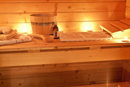 spa candles: sauna interior and sauna accessories Stock Photo