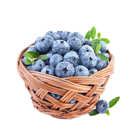 blueberry in basket isolated on white background