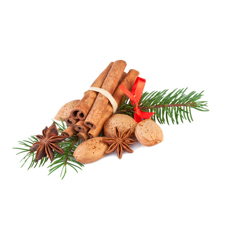 star anise christmas: Christmas Decoration with fragrant Spices Isolated on White Stock Photo
