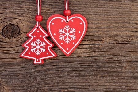 Christmas decoration over wooden background with free space for text photo
