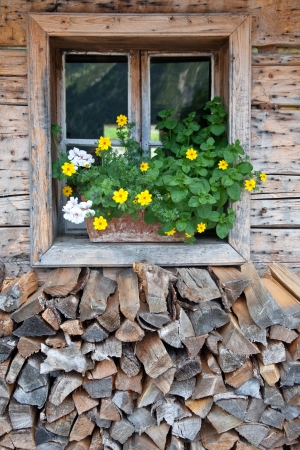 rural window in a alpine hut