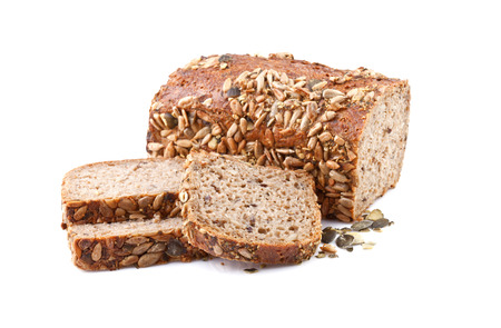 whole grain bread with sunflower seeds photo