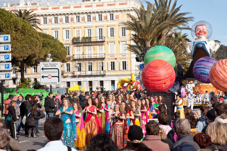 NICE, FRANCE - FEBRUARY 26: Carnival of Nice in French Riviera.The theme for 2013 was King of the five continents. Nice, France - Feb 26, 2013 Editorial