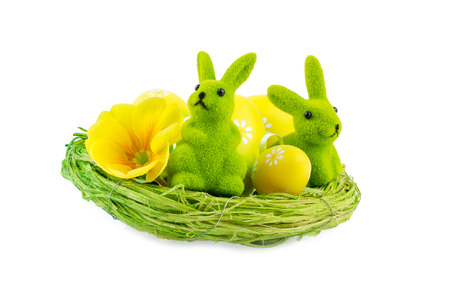 Easter Nest decorated with Eggs and Bunny photo
