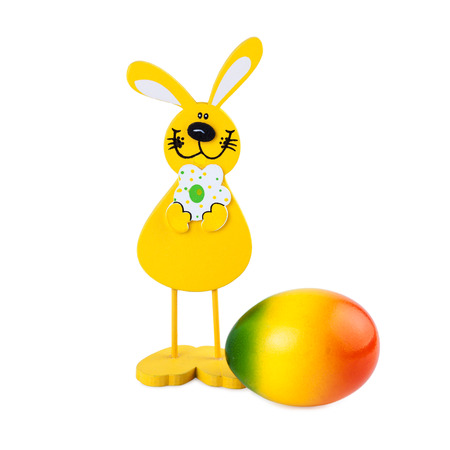 Easter Bunny and Easter Egg isolated on white  photo