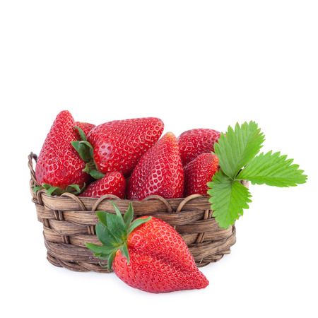 Strawberry in a basket photo