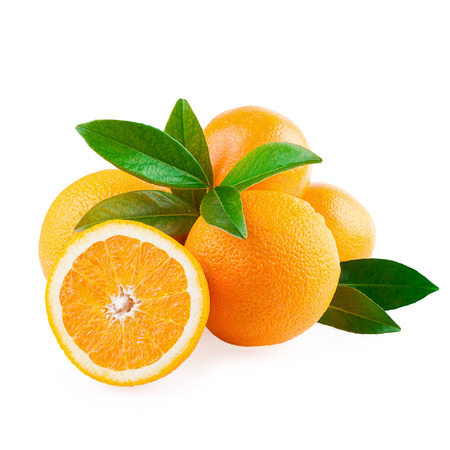 Oranges Fruits and Half of Fruit isolated on white