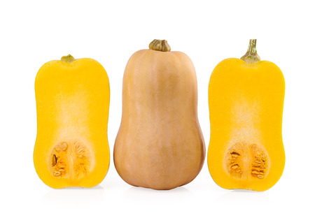 Butternut Pumpkin and halves of Pumpkin isolated on white background photo