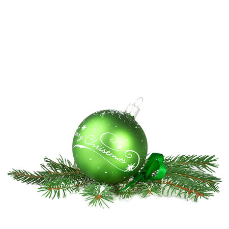Christmas decoration, green ball with fir branch photo