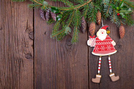 Christmas Decoration over old Wooden Background photo
