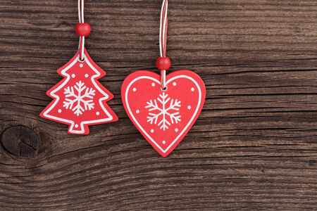 Christmas Tree Decoration over Wooden background photo