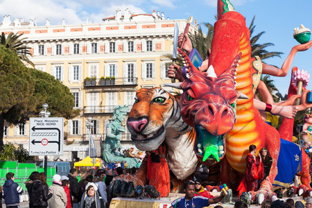 nice france: NICE, FRANCE - FEBRUARY 26: Carnival of Nice in French Riviera. This is the main winter event of the Riviera. The theme for 2013 was King of the five continents. Nice, France - Feb 26, 2013 Editorial