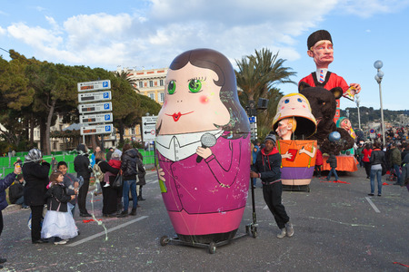 nice france: NICE, FRANCE - FEBRUARY 26: Carnival of Nice in French Riviera.The theme for 2013 was King of the five continents. Nice, France - Feb 26, 2013 Editorial
