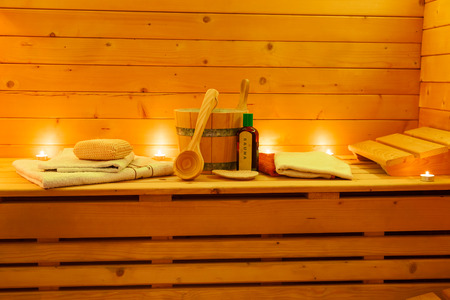 sauna interior and sauna accessories Reklamní fotografie