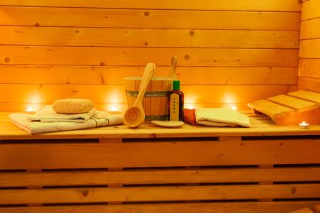 sauna interior and sauna accessories Stock Photo
