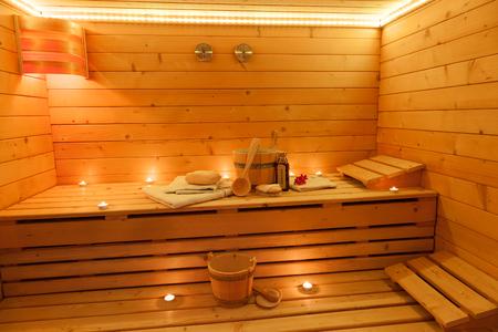 finland�s: Interior de una sauna finlandesa