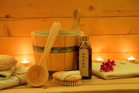 Dřevěná sauna a příslušenství Set Reklamní fotografie