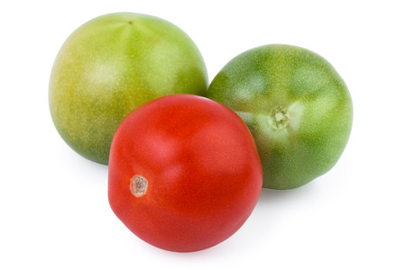 over white: tomatoes red green isolated over white
