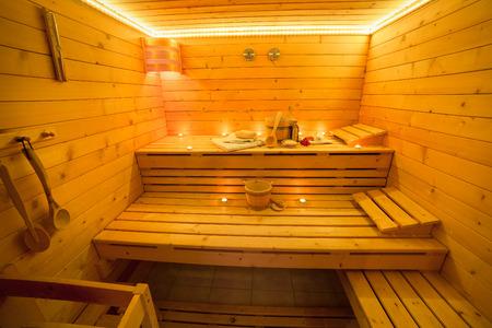finnish: Interior of a finnish Sauna