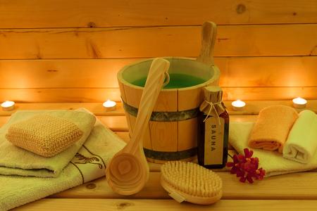 finland sauna: Sauna  and Accessories Set Stock Photo