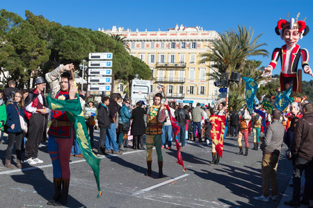 NICE, FRANCE - FEBRUARY 22: The main winter event on the Riviera is one of the largest carnivals in the world. The theme for 2015 was King of Music. Nice, France - Feb 22, 2015 Editorial