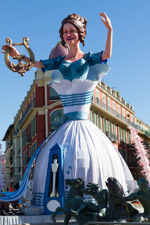 NICE, FRANCE - FEBRUARY 22: Carnival of Nice in French Riviera. The theme for 2015 was King of Music. Nice, France - Feb 22, 2015