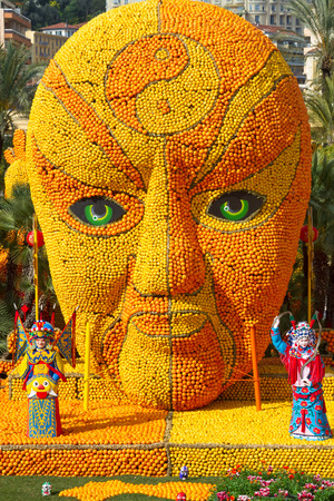 tonnes: MENTON, FRANCE - FEBRUARY 20: Lemon Festival (Fete du Citron) on the French Riviera.The theme for 2015:Tribulations of a lemon in China. Over 140 tonnes of lemons and oranges are used to build huge citrus constructions. Menton, France - Feb 20, 2015