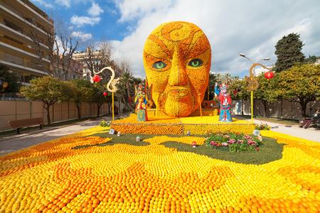 MENTON, FRANCE - FEBRUARY 20: Art made of lemons and oranges in the famous Lemon Festival (Fete du Citron). The famous fruit garden receives 160000 visitors a year. Menton, France - Feb 20, 2015
