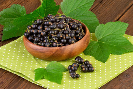 blackcurrant: blackcurrant berries on green doily dots background Stock Photo