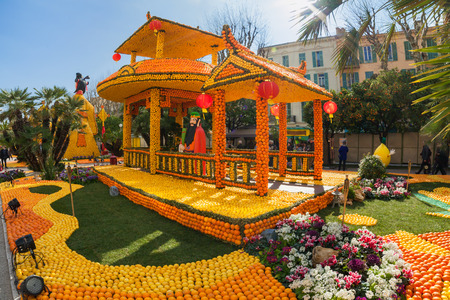 menton: MENTON, FRANCE - FEBRUARY 20: Lemon Festival (Fete du Citron) on the French Riviera.The theme for 2015 was: Tribulations of a lemon in China. Menton, France - Feb 20, 2015 Editorial