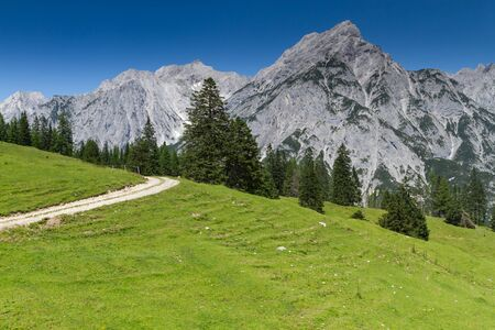 scenery: Idyllic Rocky Mountains Scenery. Austria, Alps. Stock Photo