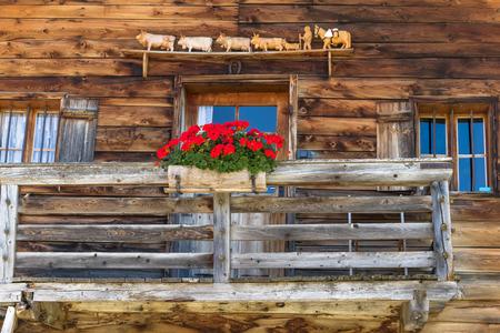 alpine hut: Rustic wall and window in a alpine hut