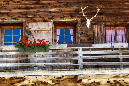 alpine hut: Rustic old Alpine hut architecture details Stock Photo