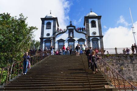senhora: FUNCHAL, MADEIRA - APRIL 14, 2015: Church of Funchal. Our Lady of the Mountain - Igreja Nossa Senhora do Monte, Funchal, Madeira Island, Portugal