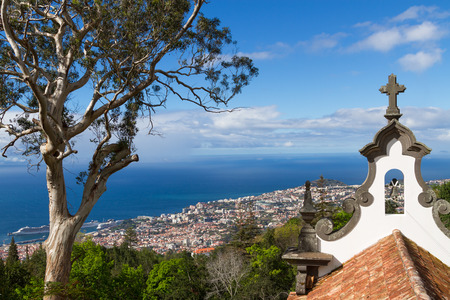 portugal: View of Funchal from the Monte. Chapel de la quinta do Monte in foreground,  Madeira, Portugal Stock Photo
