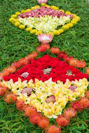 flor: Flower carpet. Part of the flower carpet on Madeira Flower Festival (Festa da Flor). Funchal, Portugal Stock Photo
