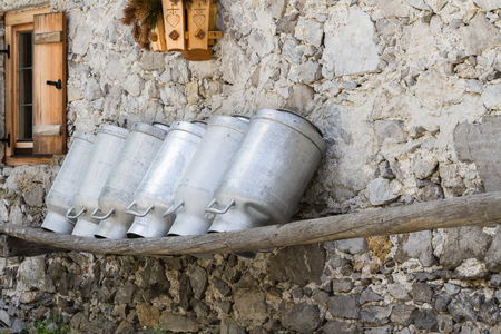 old milk cans at a alpine hut