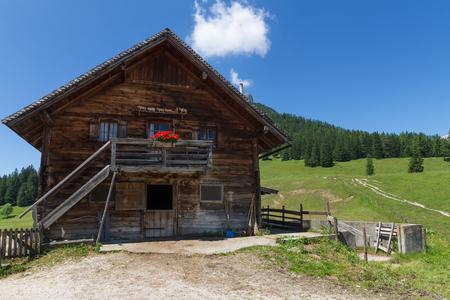 alpine hut: Rural scene with old alpine hut near Walderalm. Alps, Austria, Tirol. Stock Photo