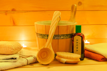 finnish bath: Sauna interior with accessories