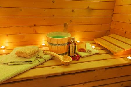 Vnitřek sauny a saunového příslušenství